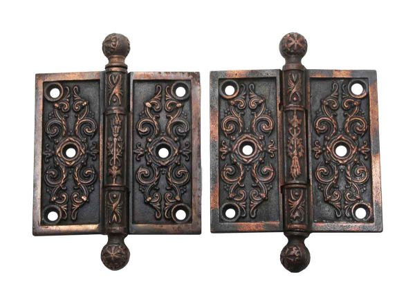 Door Hinges - Pair of Victorian Iron 3.5 x 3.5 in. Butt Door Hinges