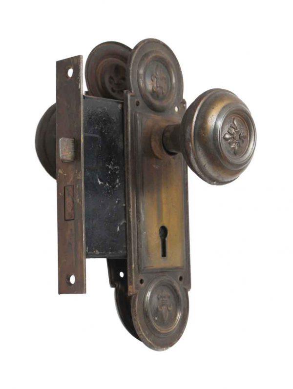 Door Knob Sets - Antique Brass Plated Steel Door Knob Set