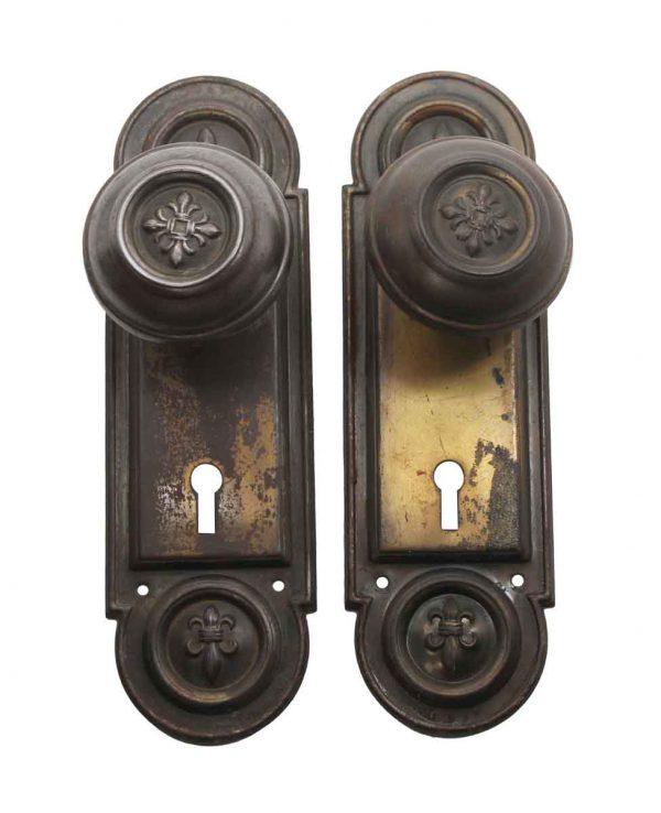 Door Knob Sets - Antique Brass Plated Steel Door Knob Set with Back Plates