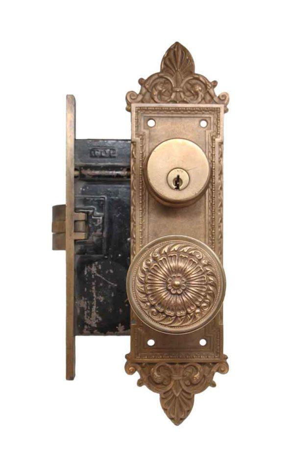Door Knob Sets - Antique Romanesque Lockwood Entry Door Lock Set