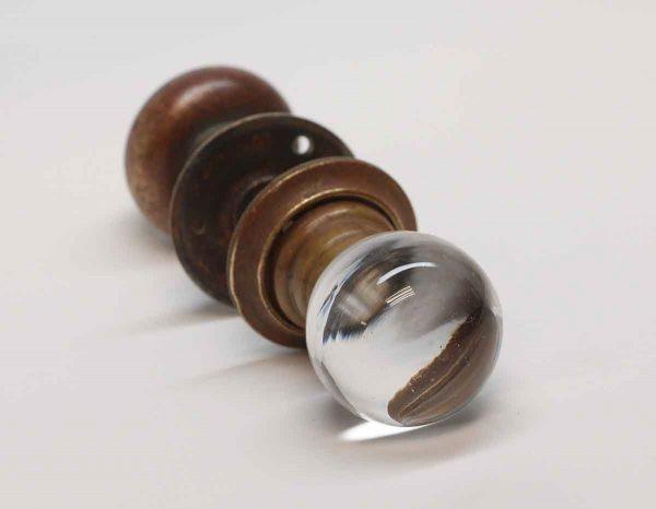 Door Knobs - Antique Brass & Glass Closet Door Knob Set