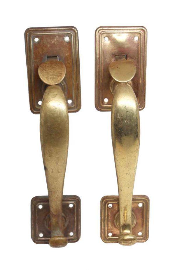 Door Pulls - Pair of Antique Brass Art Deco Door Pulls with Thumb Latches