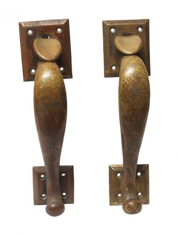 Door Pulls - Pair of Traditional Antique Brass Door Pulls with Square Plates