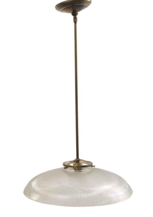 Down Lights - Restored Ribbed Holophane Glass Globe Pendant Light