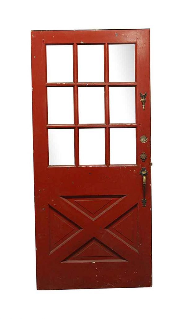 Entry Doors - Red Barn Style 9 Lite Wood Entry Door 79 x 36
