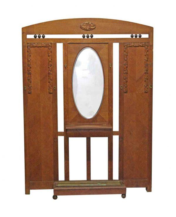 Entry Way - Oak Art Deco Hall Tree with Beveled Mirror