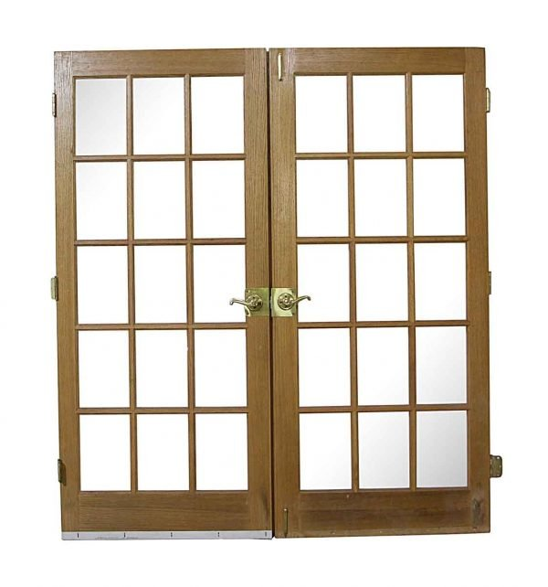 French Doors - Reclaimed 15 Lite Wood French Double Doors 78.5 x 69