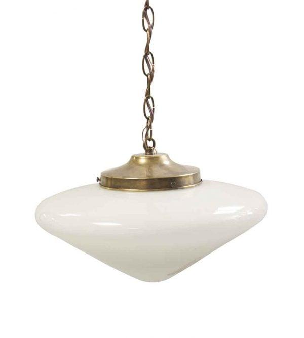 Globes - Restored Cone Shaped Milk Glass Globe Pendant Light