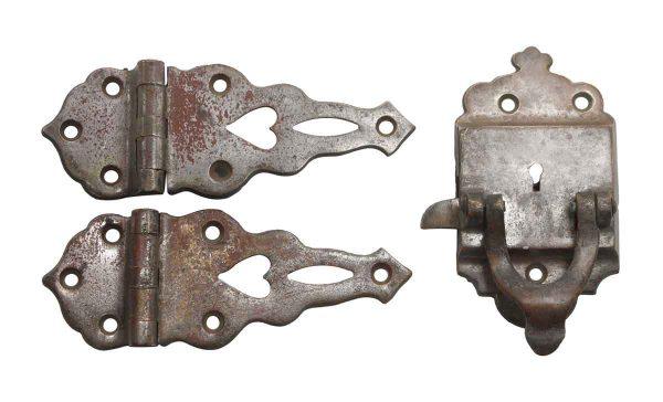 Ice Box Hardware - Antique Nickel Ice Box Lock & Hinge Set