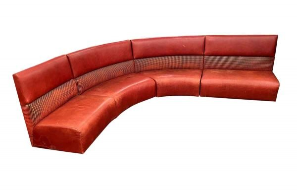 Living Room - Used Red Leather Curved Banquet Cushion