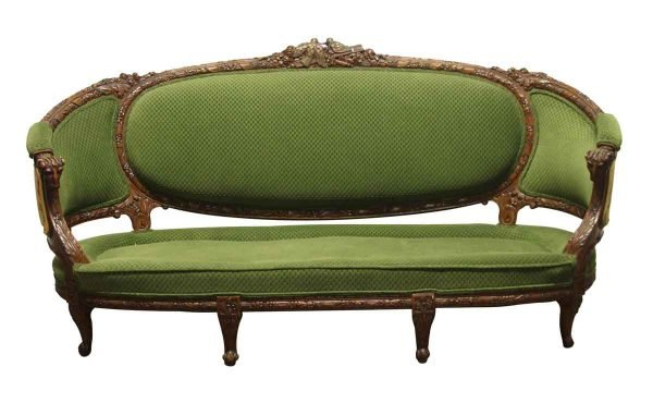 Living Room - Victorian Sofa with Carved Wood Frame & Green Upholstery