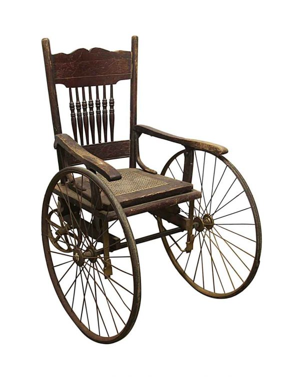 Personal Accessories - Antique Oak Wheelchair with Carved Details