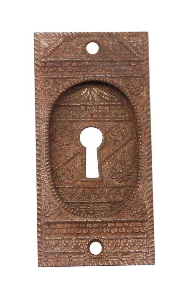 Pocket Door Hardware - Antique Aesthetic Bronze Pocket Door Plate with Keyhole