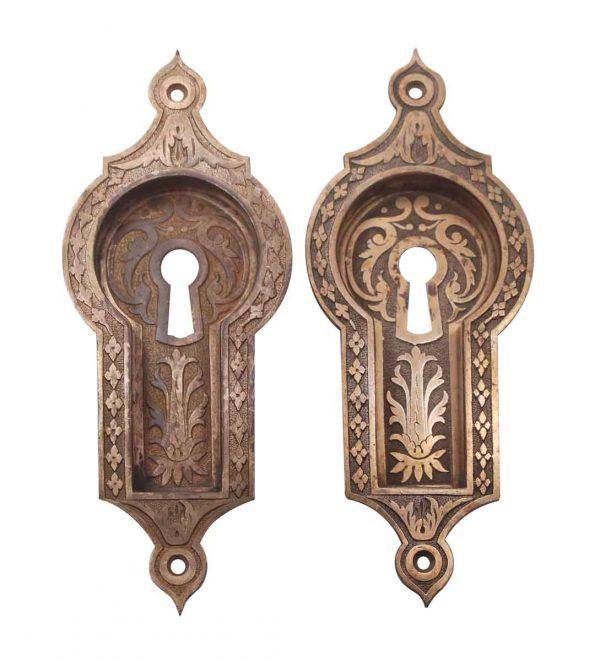 Pocket Door Hardware - Antique Bronze East Indian Style Pocket Door Plates