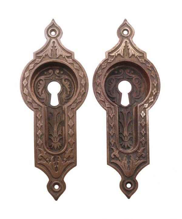 Pocket Door Hardware - Antique East Indian Bronze Pair of Pocket Door Plates