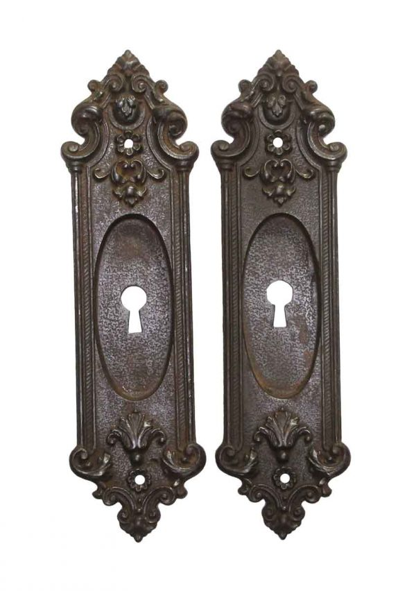 Pocket Door Hardware - Pair of Antique French Cast Iron Keyhole Pocket Door Plates