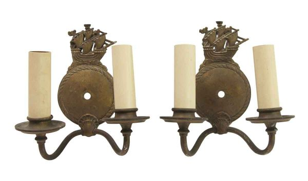 Sconces & Wall Lighting - Antique Nautical Pair of Bronze Double Arm Wall Sconces