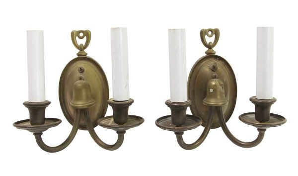 Sconces & Wall Lighting - Pair of Traditional Antique Brass 2 Arm Wall Sconces