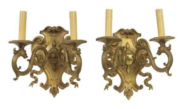 Sconces & Wall Lighting - Set of Six French Regency Cast Bronze Serpentine Sconces