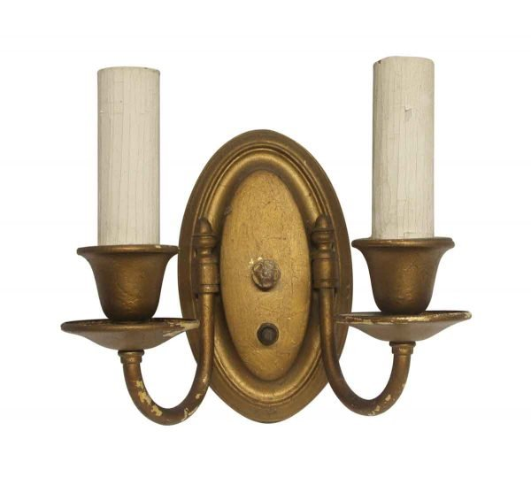 Sconces & Wall Lighting - Traditional Painted Gold Brass 2 Arm Sconce