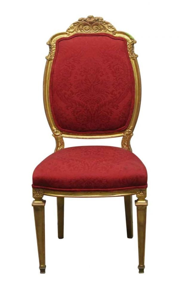 Seating - Vintage Red French Chair with Gilded Wood Frame