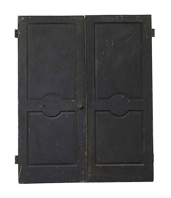 Standard Doors - Vintage Black 2 Panel Wood Double Doors 79.5 x 64