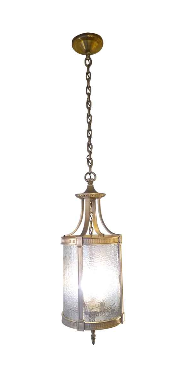 Wall & Ceiling Lanterns - Federal Bronze Hanging Lantern with Pebbled Glass