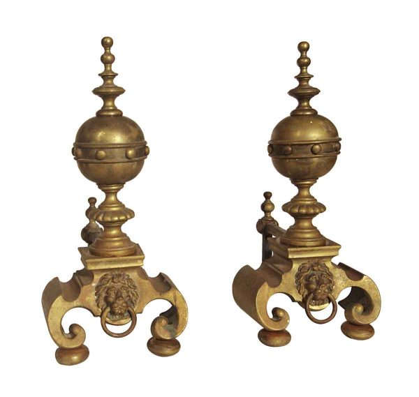 Andirons - Antique Pair of Lion Brass Andirons
