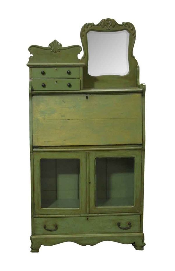 Antique Furniture - Restored Painted Green Desk Cabinet with Beveled Mirror