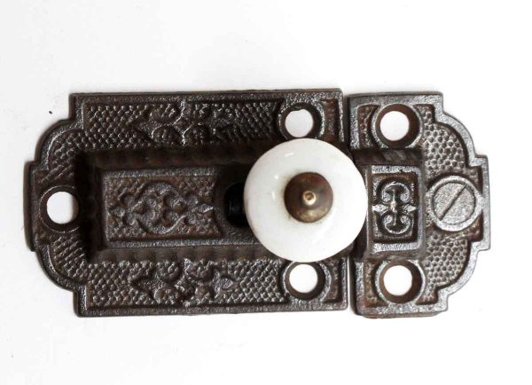 Cabinet & Furniture Latches - Antique Cast Iron & Porcelain Cabinet Latch