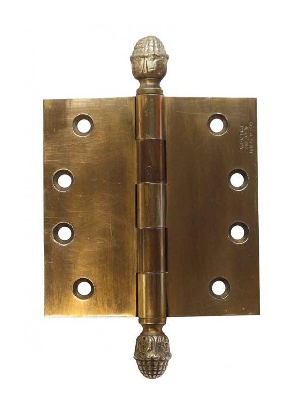 Door Hinges - Vintage Acorn Henne 4 x 4 Brass Door Butt Hinge