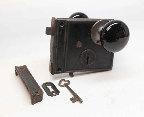 Door Knob Sets - Antique Cast Iron Rim Lock Door Set with Black Porcelain Knobs