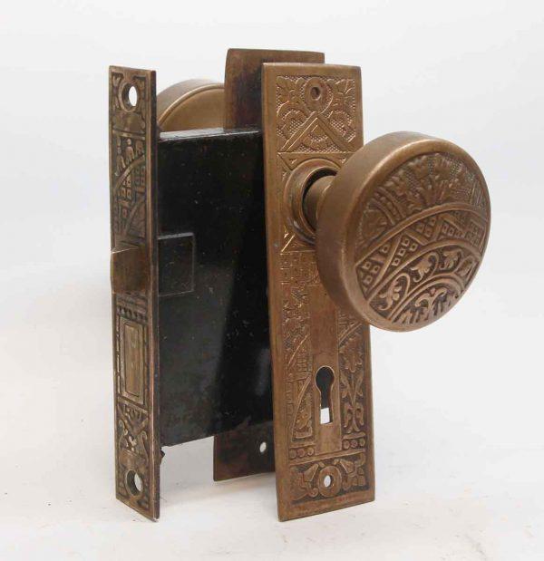 Door Knob Sets - Antique Ceylon Bronze & Cast Iron Passage Door Set