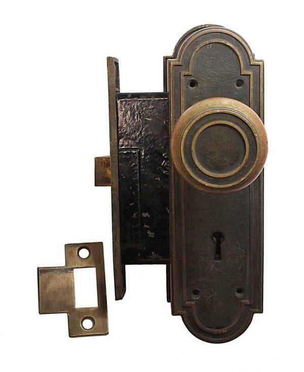 Door Knob Sets - Antique Concentric Brass Door Knob Passage Set