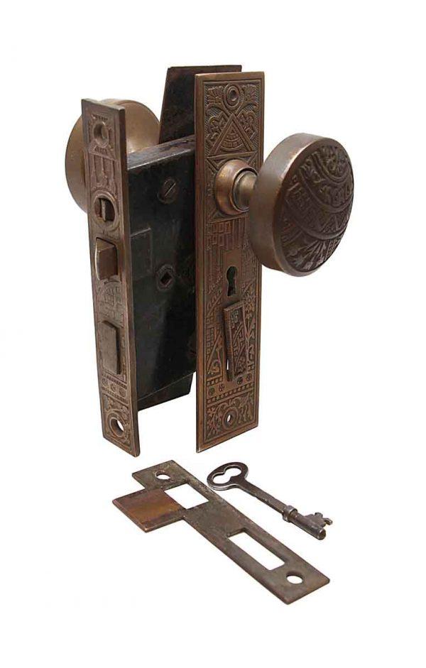 Door Knob Sets - Antique Corbin Ceylon Bronze Entry Door Set