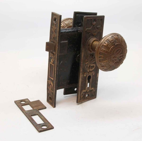 Door Knob Sets - Antique Mallory Wheeler Bronze & Cast Iron Door Knob Set