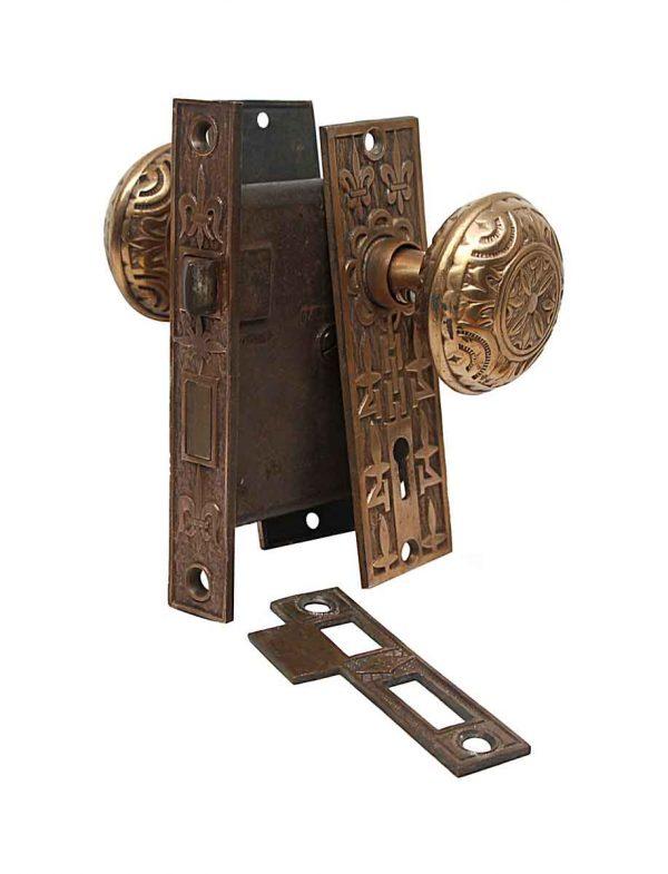 Door Knob Sets - Antique Mallory Wheeler Passage Bronze Door Knob Set