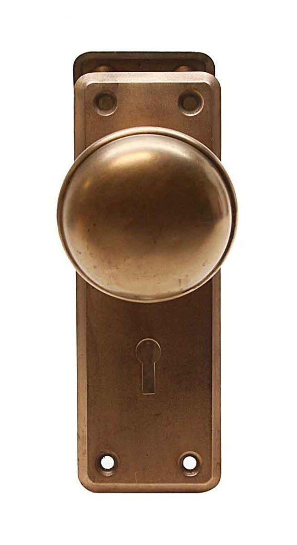 Door Knob Sets - Antique Plain Bronze Door Knob Set
