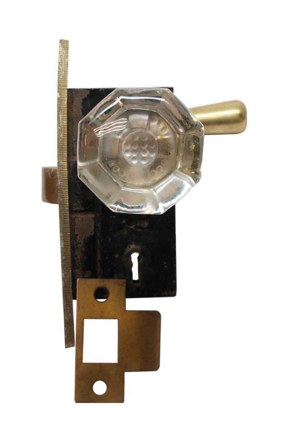 Door Knob Sets - Vintage French Glass & Brass Door Knob Set