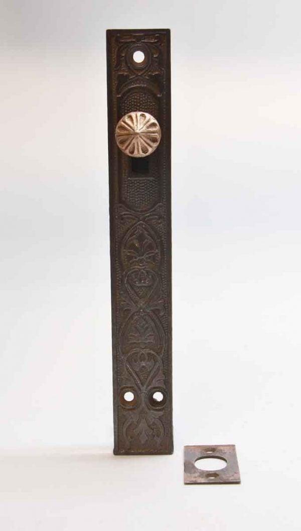 Door Locks - Antique Cast Iron Door Floor Bolt with Brass Knob