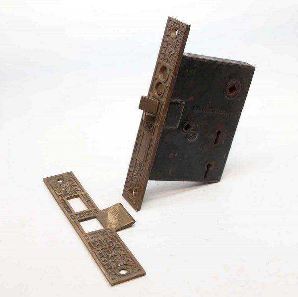 Door Locks - Antique Sargent Bronze & Cast Iron Entry Door Lock