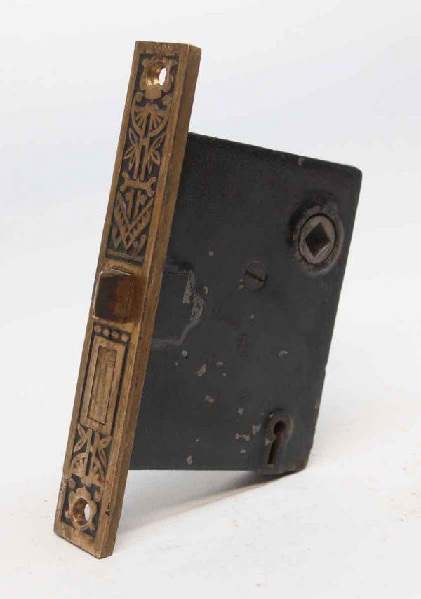 Door Locks - Antique Victorian Brass & Cast Iron Ornate Passage Door Lock