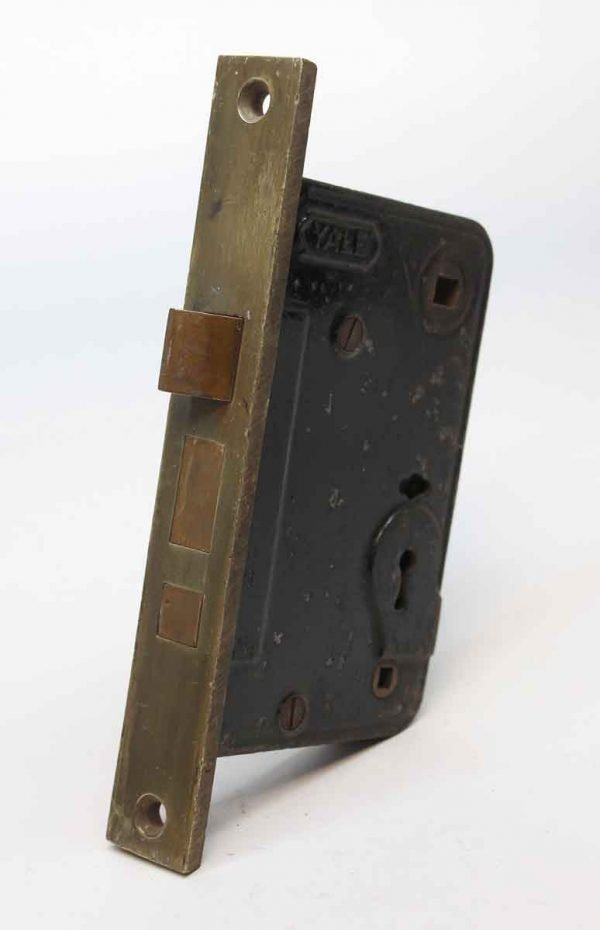 Door Locks - Cast Iron Yale Privacy Lock with Brass Faceplate