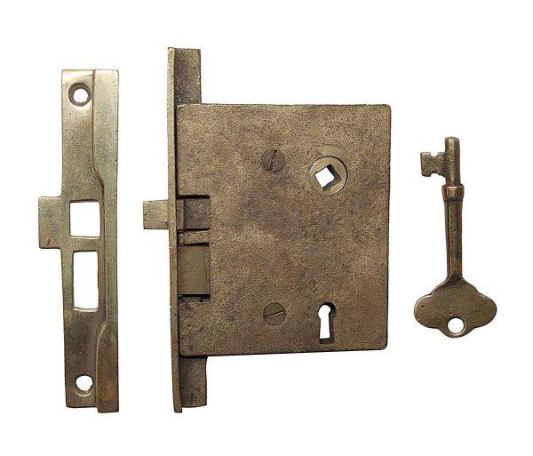 Door Locks - Rabbeted Left Hand Brass Passage Door Mortise Lock