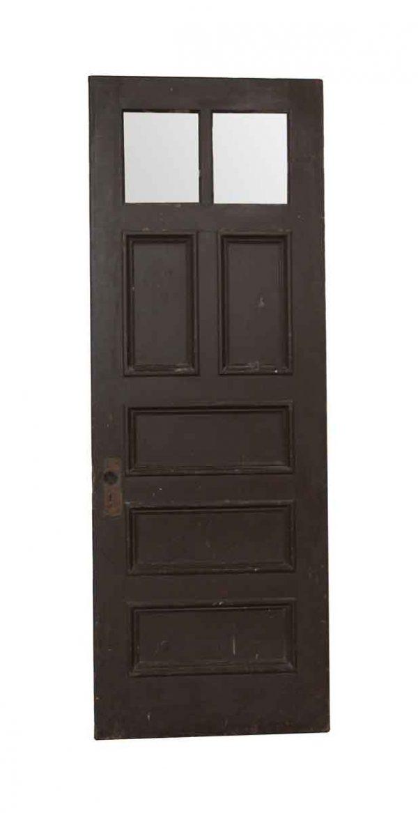 Entry Doors - Antique 2 Lite 7 Panel Wood Entry Door 83.25 x 29.75