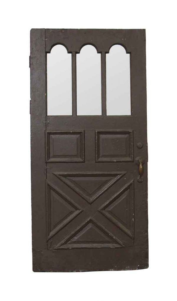 Entry Doors - Antique 3 Arched Lite Wood Entry Door 82.5 x 39.5