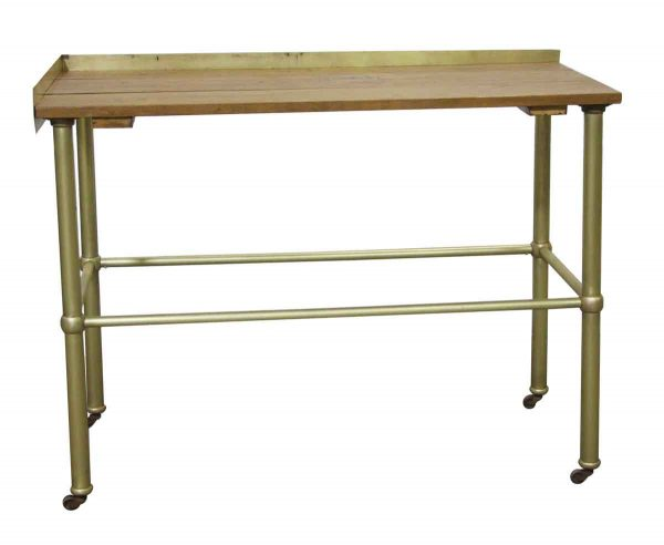 Kitchen - Reclaimed Wood Top Rolling Corner Table