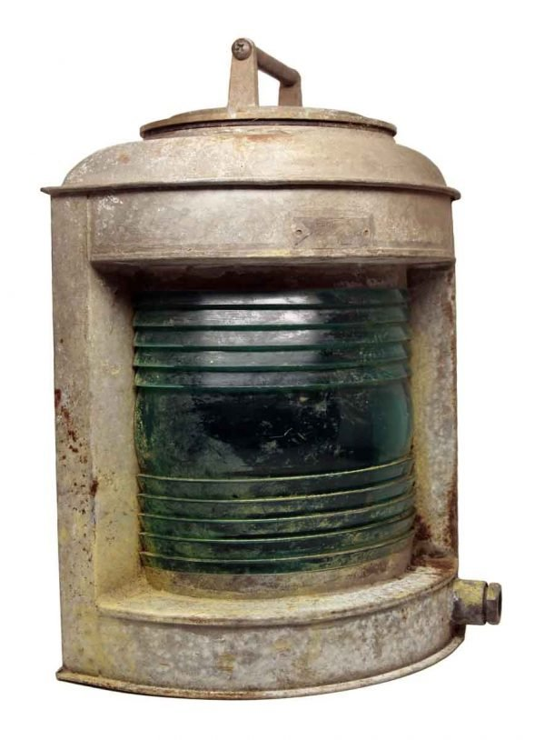Nautical Lighting - Old Perko Nautical Lantern with Teal Glass