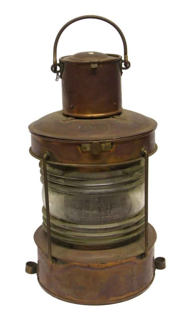 Nautical Lighting - Old Salvaged Copper & Glass Lantern
