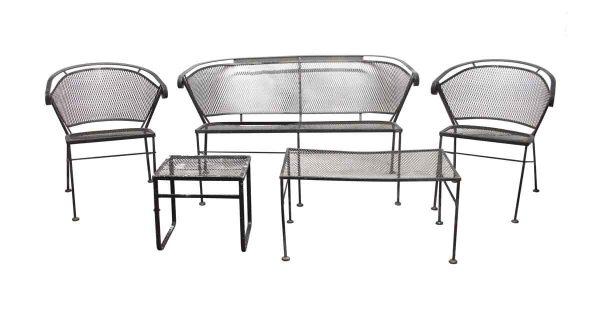 Patio Furniture - Reclaimed 5 Piece Black Wrought Iron Patio Set